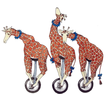 Giraffe Unicyclists | Another illustration for the book of verse.